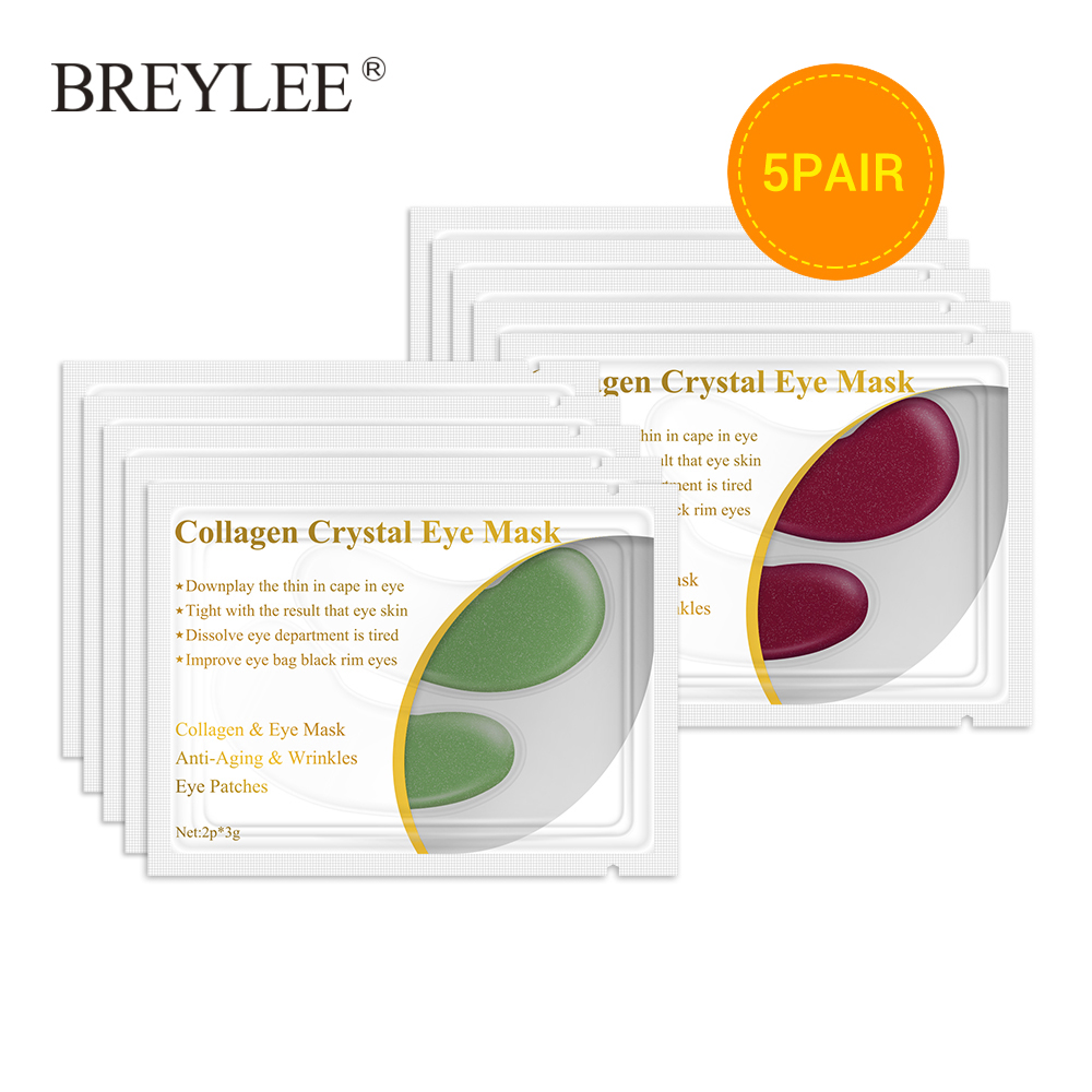 BREYLEE Collagen Eye Serum Eye Mask Anti Fat Granule Crystal Eye Patch Face Skin Care Remove Wrinkles Sheet Mask Beauty 5pairs