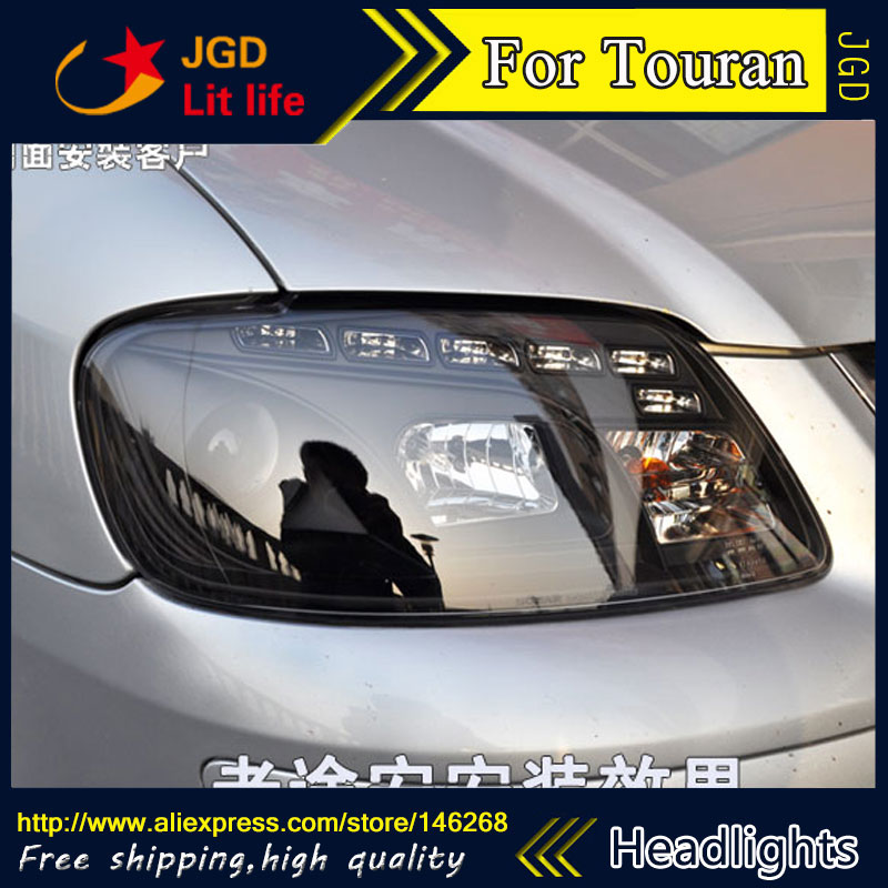 Free shipping ! Car styling LED HID Rio LED headlights Head Lamp case for VW Touran 2003-2006 Bi-Xenon Lens low beam