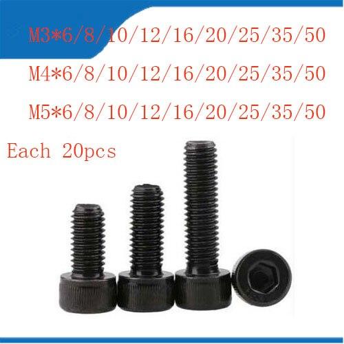 Filetage métrique DIN912 M3/4/5 boulons à tête hexagonale en acier au carbone tout neuf