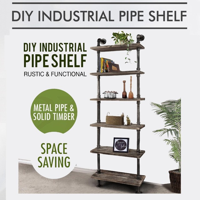 Pipe Bookcase Vintage Book Standing Shelves Multi Function 6 Tier Library Storage Rack