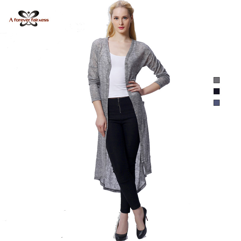 2016 Women Knitted Kimono Cardigan Long Sleeve Asymmetry Slim ...