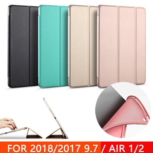 Trường hợp đối với New iPad 9.7 inch 2017 2018 Không Khí 1 Không Khí 2 Funda Mềm silicone dưới Lại PU Da Thông Minh tự Động Ngủ