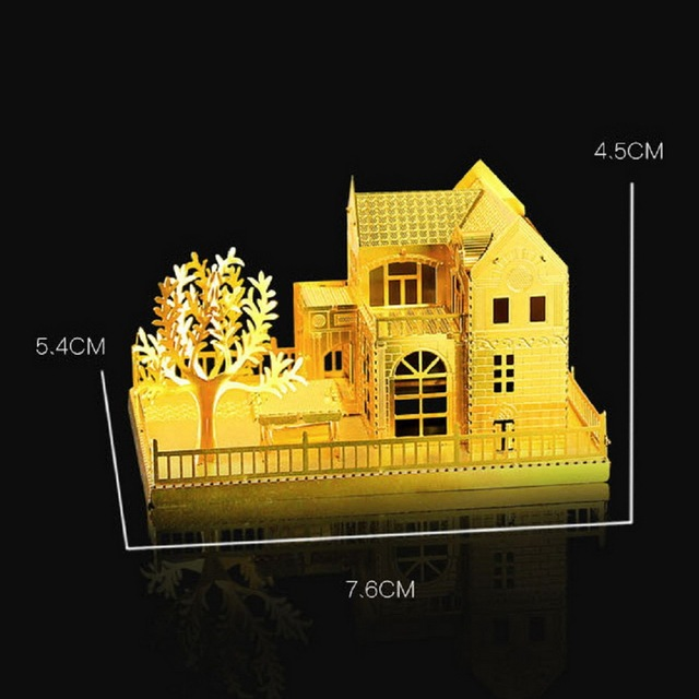 3D DIY Handmade Model Villa, Gold And Silver Two Optional The Handmade Mini Model House Hot Selling