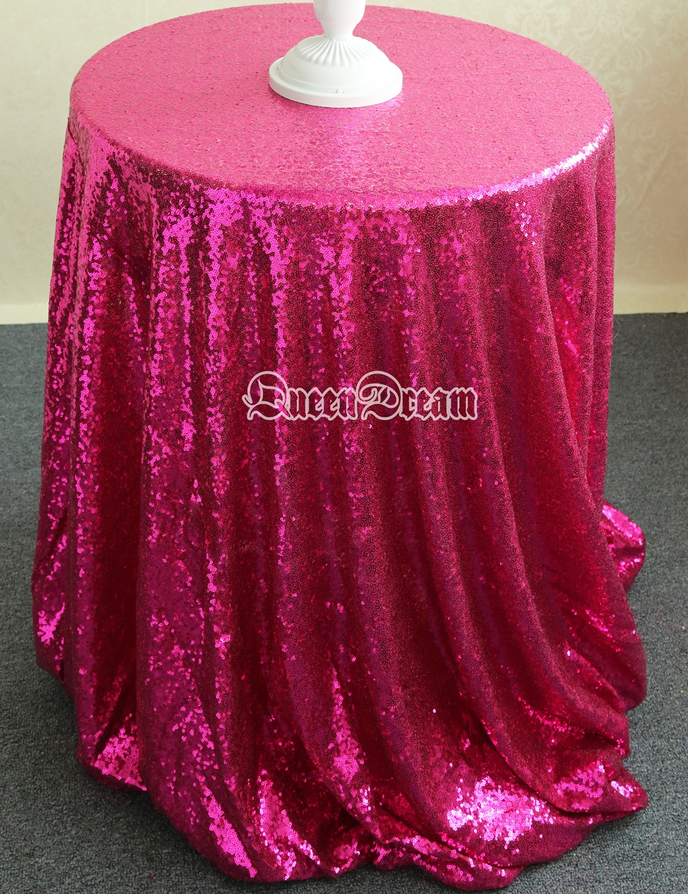 96 inch round tablecloth - 96 Inch Round Tablecloth Glittery Fabric Tablecloth Fuchsia Bridal Head Table Soiree Pageant 96 Inches