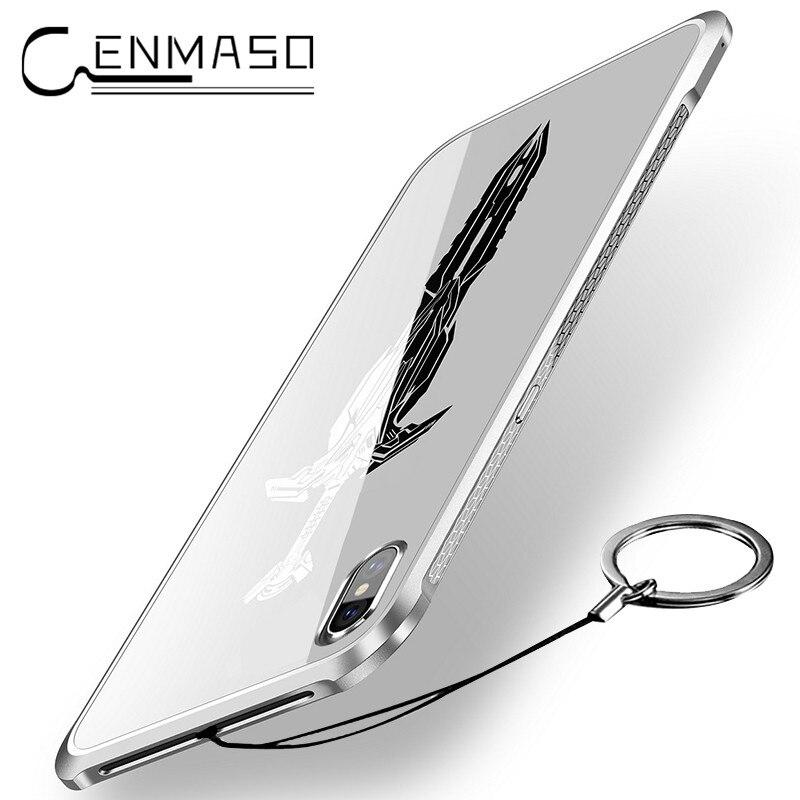 Per iphone caso di X per il iphone 6 6 S 7 8 più di Alluminio Struttura In Metallo + acrilico cassa del telefono della copertura posteriore di lusso ultra sottile spada funda