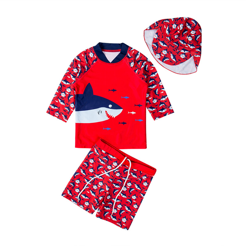 Children Swimwear Shark Print Swimming Suits For Girls Two Piece Swimsuits Boys Red Long Sleeve Tops Pants Hat Kid Bathing Set