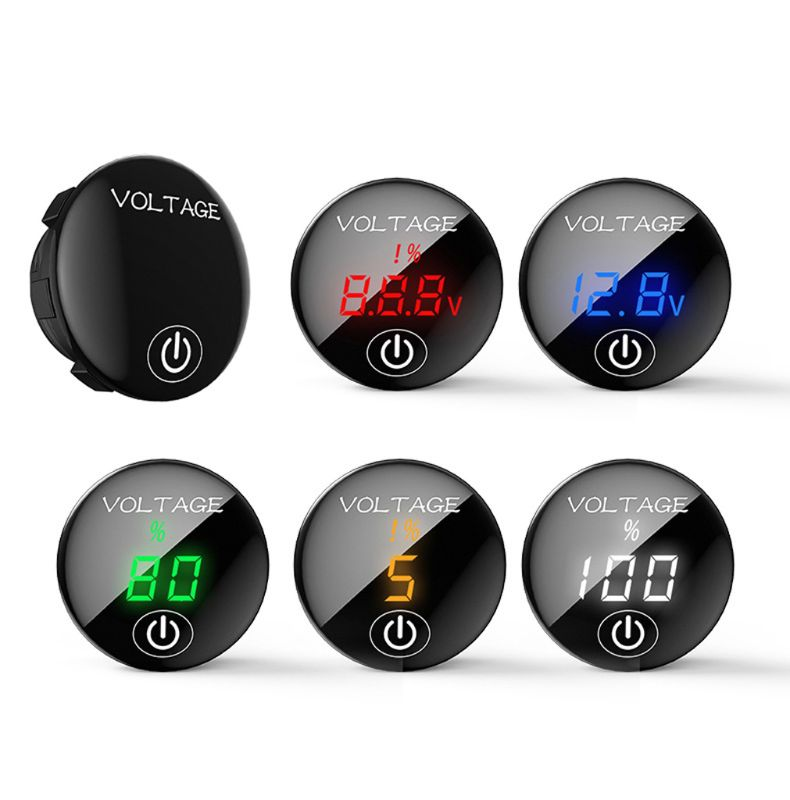 Car Motorcycle DC 5V-48V LED Panel Digital Voltage Meter Battery Capacity Display Voltmeter with Touch ON OFF Switch