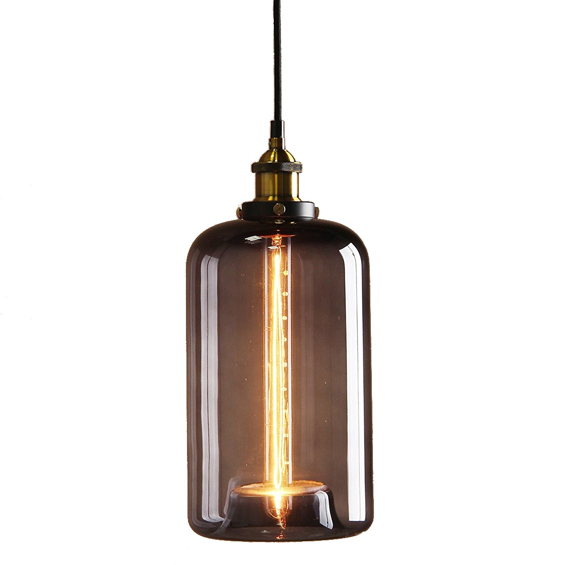 купить Vintage Industrial Metal Finish Black Gray Glass Shade Loft Pendant Lamp Retro Ceiling Light Vintage Light fitting недорого