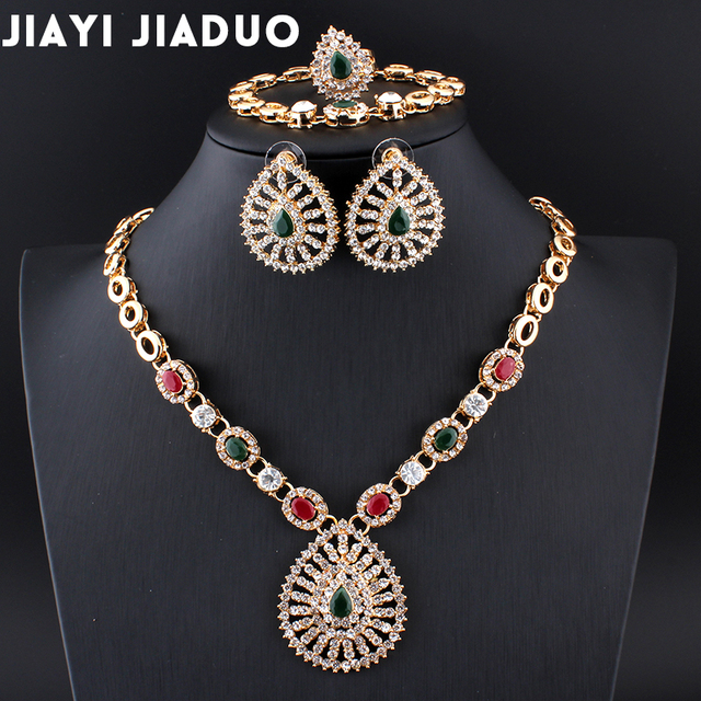 Jiayijiaduo Indian Wedding Jewelry Retro Palace Necklace 4ps Set Jewellery Sets For Women Bridal Dress