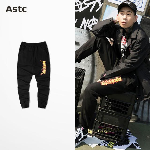 Ulzzang Corea Retro Harajuku Pantalones Fuego Rockstar Sweatpants Impresión Haren Pantalones Para Hombre Pantalones de impresión de la letra de impresión llama