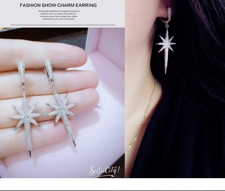 bf9f571666ed VENTA DE PLATA 925 Europa Estrella de cristal de Swarovski nueva moda  creativa cz mujer pendientes de borla copos de nieve joyas