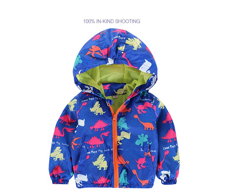 80-120cm Cute Dinosaur Acitve Children Boy Jackets Spring Clothes For Kids Girls Trench Coats Windproof Camouflage Outerwear (2)