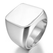 Stainless Steel Ring Silver Signet Polished Biker Size 7 8 9 10 11 12 13 14 15