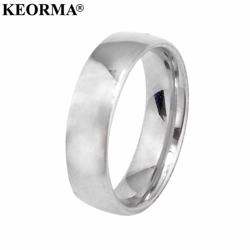 KEORMA 6mm 316L Stainless Steel Shiny Polished Ring Comfort Fit Men Women Wedding Engagement Band Sizes 6 to 12 Ring wholesale