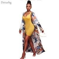 Womens New Fashion Floral Print Long Tops Female Long Sleeve Tied Chiffon Beach Open Cardigan Blouse