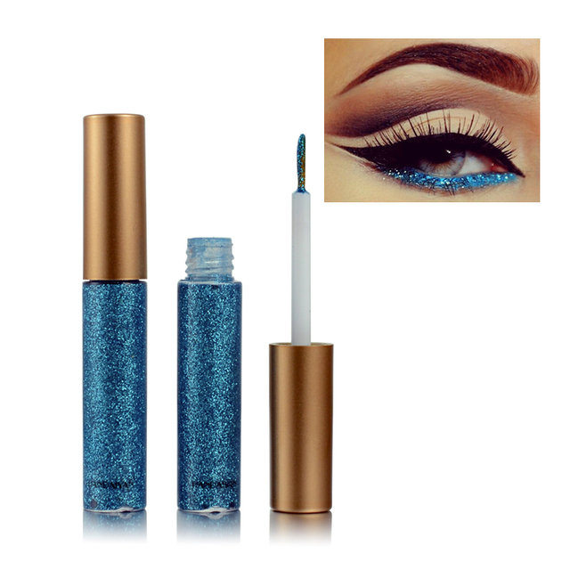 New Shimmer Glitter Eyes Liner For Women Make Up Easy to Wear Waterproof Pigment Red White Gold Liquid Eyeliner Glitter Makeup 3