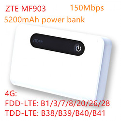 Unlocked band 28 ZTE MF903 4G LTE Pocket WiFi Router 5200 mah power bank met lan-poort 4g router rj45 mifi usb charge router 4g