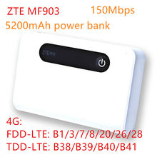 unlocked band 28 ZTE MF903 4G LTE Pocket WiFi Router 5200mah power bank with lan port 4g router rj45 mifi usb charge router 4g(China)