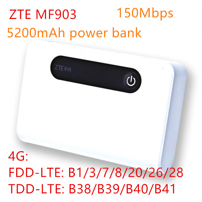unlocked band 28 <font><b>ZTE</b></font> <font><b>MF903</b></font> 4G LTE Pocket WiFi Router 5200mah power bank with lan port 4g router rj45 mifi usb charge router 4g image
