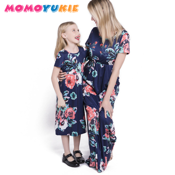 2018 Mommy and me family matching mother daughter dresses clothes striped mom and daughter dress kids parent child outfits look 3