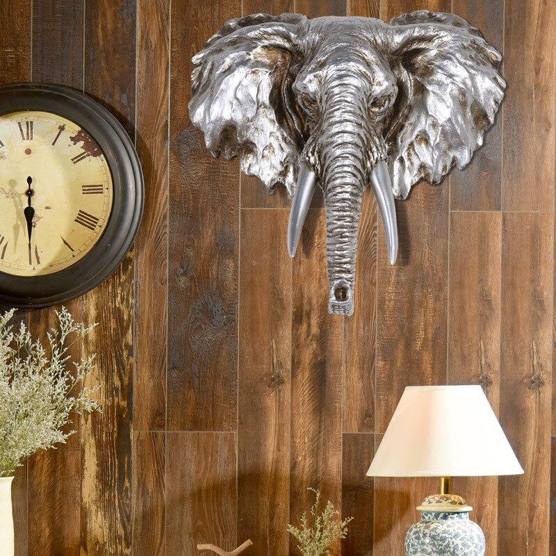 Européenne Éléphant Sculpture Suspendus Décoration De Résine Animal Tête Statue Mur de La Maison Moderne Décoration Ornement Motifs Artisanat