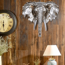 European Elephant Sculpture Hanging Decoration Resin Animal Head Statue Modern Home Wall Ornament Artwork Craft