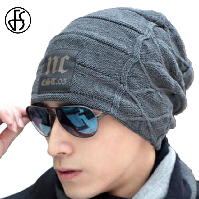 FS Fall And Winter Warm Brand Thick Hip Hop Caps Men NC Casual Knitted Wool Cap  Male Stylish Winter Caps Beanies Bonnet Hat c290efb03f1