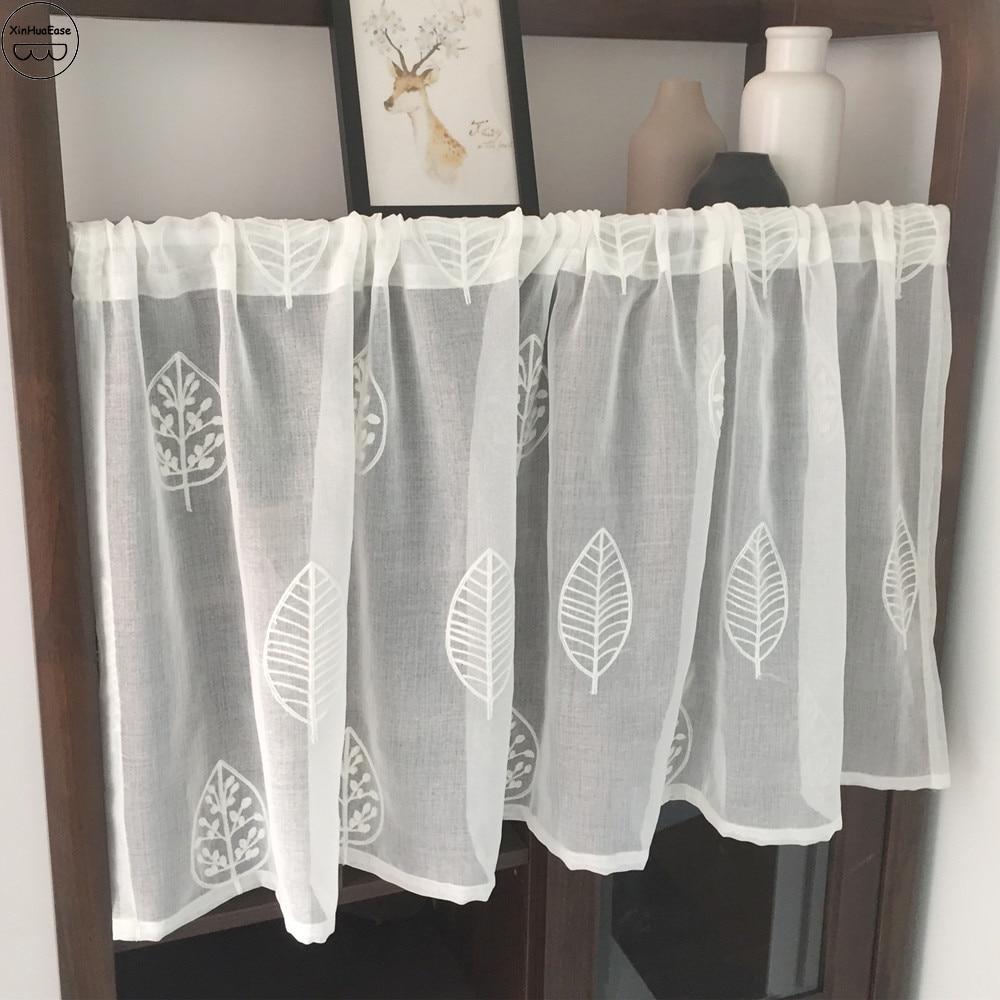 XinHuaEase hilo cortina corta ventana Voile cocina cortinas blanco puro café tul café Café cortinas hojas bordado cenefa de puerta Cortina de tela con borlas de princesa coreana, cortina opaca para la cabeza + cortina de tul transparente de gasa, cortinas para sala de estar y dormitorio 77 #25