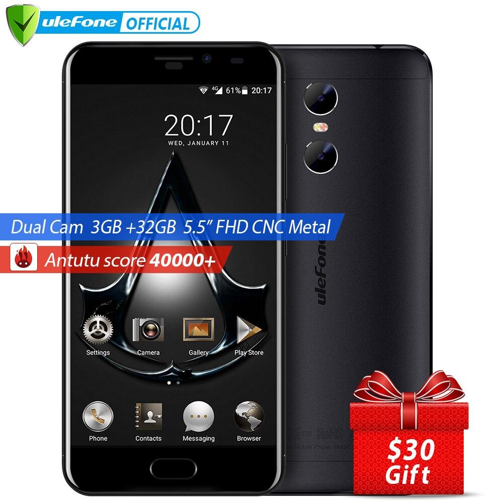 Цена за Ulefone близнецы двойной задней камеры мобильного телефона 5.5 дюймов fhd mtk6737t quad core android 6.0 3 ГБ + 32 ГБ передней touch id 4 г мобильный телефон