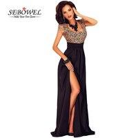 SEBOWEL Summer Short Sleeve Elegant Floor Length Dress Women S Amazing Gold Lace Overlay Slit Maxi