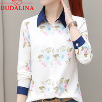 Dudalina Embroidery Female Shirt Lady 2018 New Fashion Lady Bow Chiffon Shirt Women Long Sleeve Tops Fashion feminina Size S 4XL