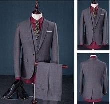 Wedding Sposo Vestito Con Pantaloni Smoking Per Gli Uomini Abiti Prom Migliore Delluomo (Jacket+Pants+Bow)