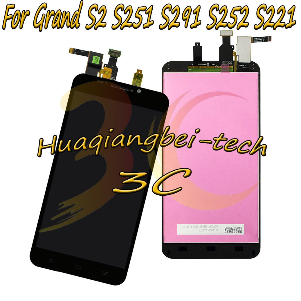 5.5'' New For ZTE Grand S2 S 2 II S251 S291 S252 S221 Full LCD DIsplay + Touch Screen Digitizer Assembly Black 100% Tested