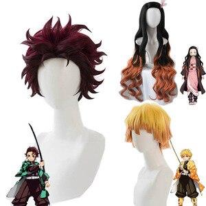 Cosroad Nezuko Tanjirou Kamado Wigs Demon Slayer Kimetsu no Yaiba Cosplay Wigs Zenitsu Agatsuma Golden Short Hair(China)