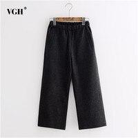 VGH Elastic Black Trousers For Women With Pockets Winter Slim Long Female Woolen Wide Leg Pants