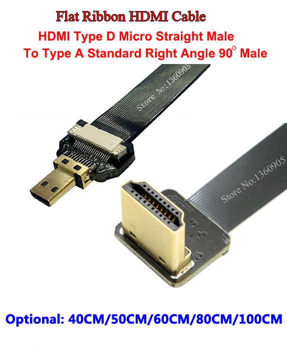 40/50/60/80/100CM Ultra Thin HDMI Flat Ribbon Cable FPV Micro Type D Straight Male to Standard Type A Male Right Angle 90 Degree 30cm thin hdmi ribbon flat cable straight type a male to male type c2 mini up angle 90 degree super flexible cable fpv 11 8inch