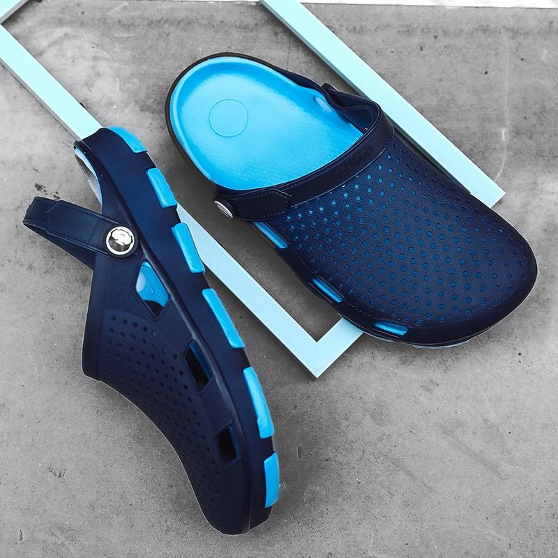 Crocse Comfortable Men Pool Sandals Summer Outdoor Beach Shoes Men Slip On Garden Clogs Casual Water Shower Slippers Indoor