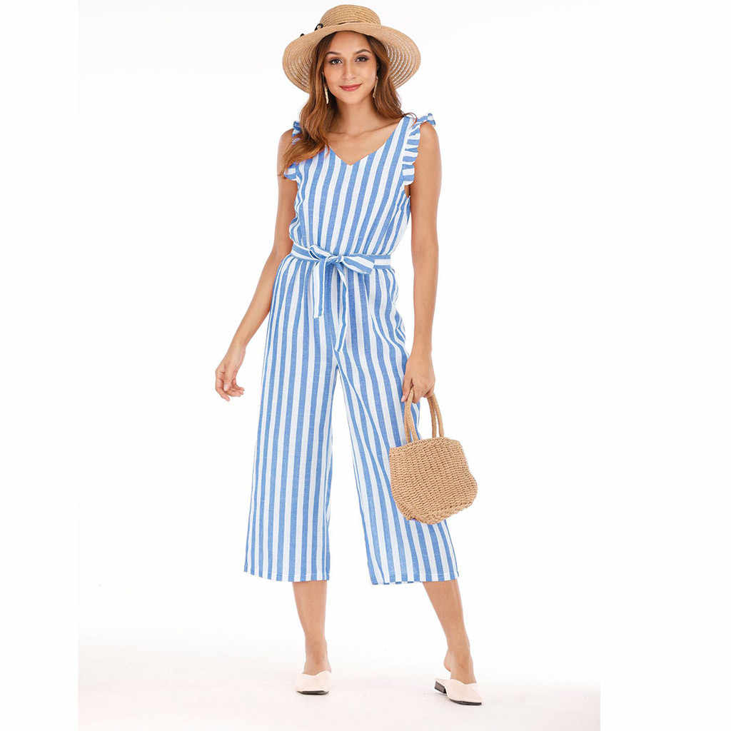2019 nuevo de verano de las mujeres mono de verano a rayas de señora sin mangas pantalones de pierna ancha mujer prendas mono