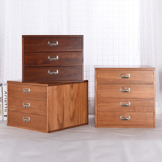 Office Makeup Organizer Desktop Debris Storage Box Real Wooden Jewelry  Storage Boxes Small Drawer Type Desk Data File Cabinet