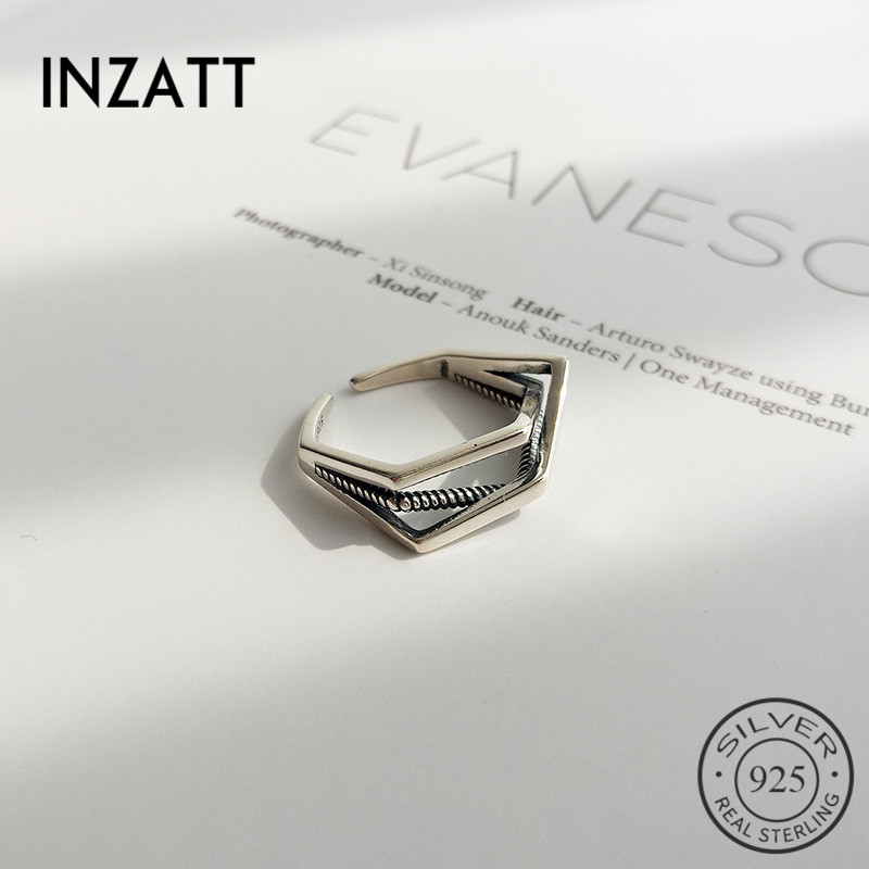 INZATT Real 925 Sterling Silver Irregular Geometric Vintage Opening Ring For Charm Women Personality Fashion Jewelry 2018 Gift