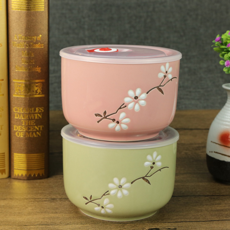 1pc 5 - inch Ceramic Bowl With Lid Sealed Fresh Creative Lunch Box Snack Bowl  lid