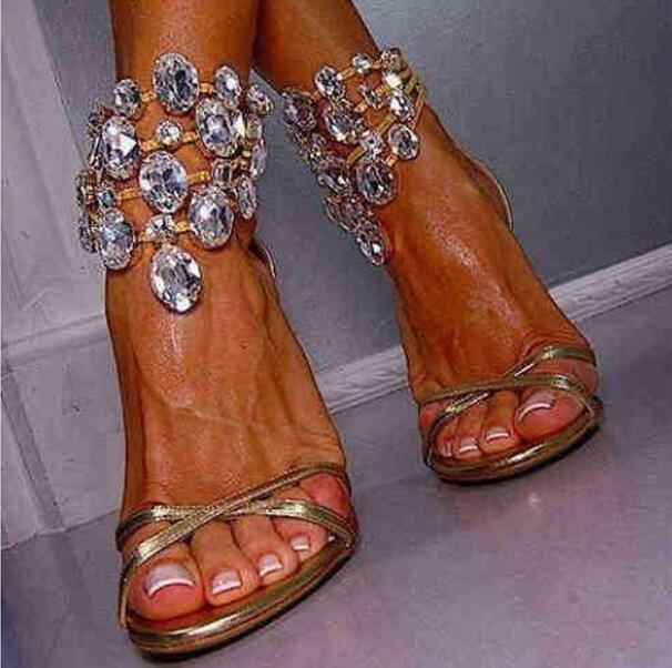 Newest sexy Bling Bling Crystal Sandals Gladiator Rhinestone Ankle Strap High Heel Sandals Jeweled Bridal Wedding women Pumps rousmery 2017 ankle wrap rhinestone high heel sandals woman abnormal jeweled heels gladiator sandals women big size 43