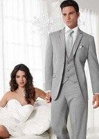 2017 Custom Made Two Buttons Groom Tuxedos Light Grey Best Man Notch Lapel Groomsman Men Wedding Suits (Jacket+Pants+Vest)