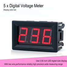 5PCS 70-380V 2-Wire LED Display Panel Voltmeter Electric Voltage Meter Volt Tester for Auto Car Motorcycle Battery Cart