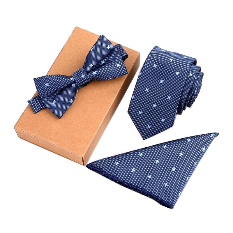 GUSLESON 3PCS Slim Tie Set Men Bow Tie And Handkerchief Bowtie Necktie Homme Noeud Papillon Cravate Man Corbatas Hombre Pajarita