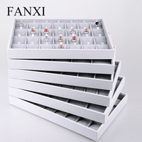 FANXI Luxury Silver Gray Jewelry Display Tray Earring Ring Pendant Necklace Display Tray Holder Jewelry Showcase Box Organizer