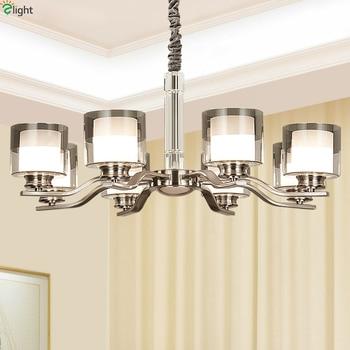 Modern Nickel Metal Led Pendant Lights Glass Shade Living Room Led Pendant Lamp Dining Room Led Hanging Light Fixtures