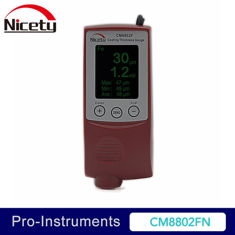 Nicety CM8802FN Color Display Coating Thickness Gauge Painting Thickness Measurement Film Thickness Meter Car Paint Tester 0 1500um lcd film coating thickness gauge meter 2in1 fe nfe non magnetic surface paint coatings thickness measurement gm211