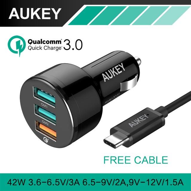 AUKEY Carga Rápida 3.0 3 Puertos USB Cargador de Coche Mini usb cargador de coche para lg iphone7 qc2.0 xiaomi & más pc tableta del teléfono Compatible