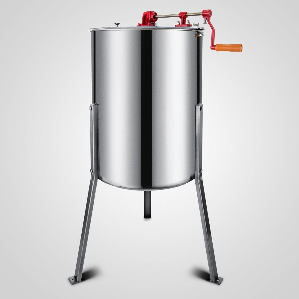 Brand New Large 4-Frame Stainless Steel  Manual Honey Extractor 4-Frame Stainless